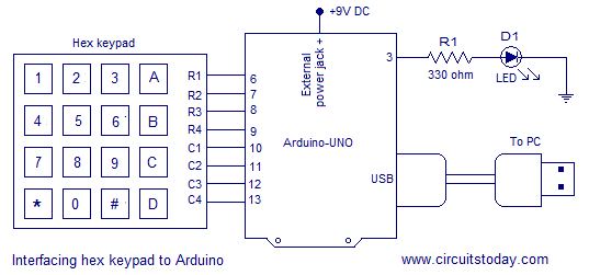 Digital code lock using arduino circuit diagram program