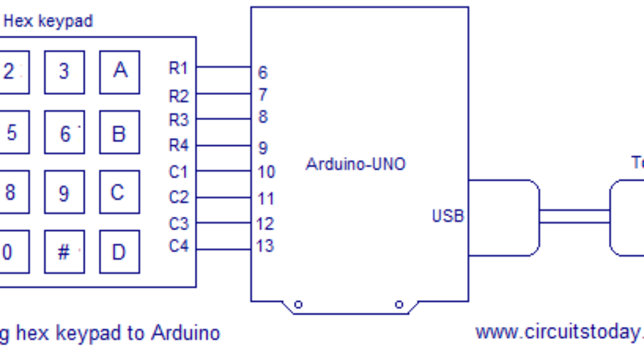 Interfacing hex keypad to arduino Full circuit diagram, theory and