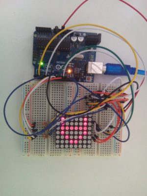 Interfacing 8×8 LED Matrix with Arduino- Circuit Diagram – Code