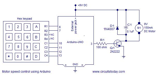Motor speed control using arduino hex keypad used as