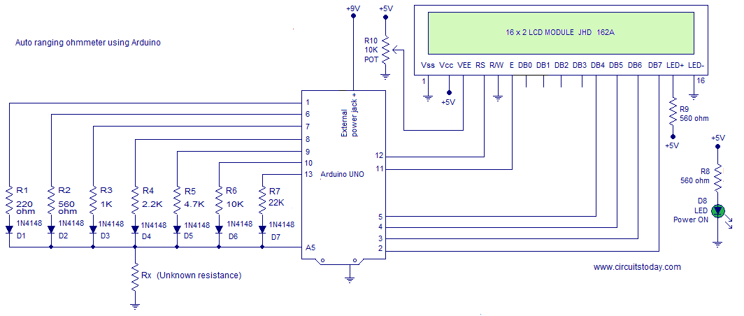 Finding Resistance In Circuit Ohmmeter : Ohmmeter circuit using arduino measure resistance in lcd