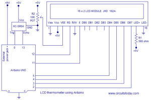 Simple ultrasonic range finder using arduino. Circuit diagram, program and theory