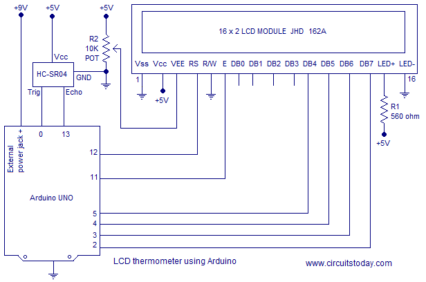 Simple ultrasonic range finder using arduino. Circuit diagram ...