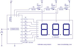 Simple 0-5V three digit voltmeter using arduino. 50mV sensitivity