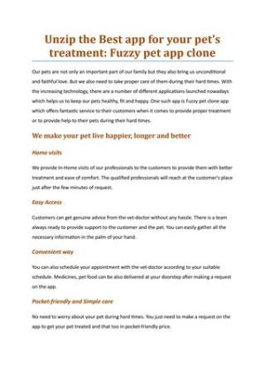 Unzip the Best app for your pet's treatment: Fuzzy pet app clone  This information makes you und ...