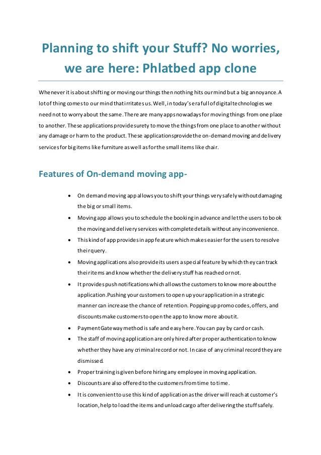 on demand moving app like phlatbed