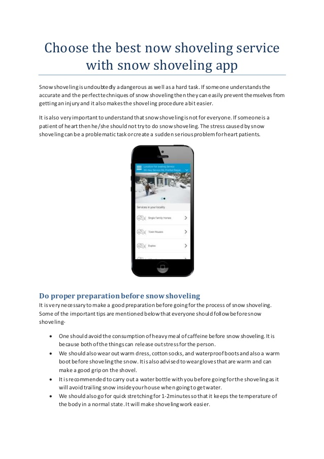 Choose the best now shoveling service with snow shoveling app