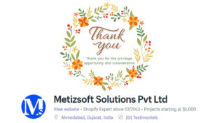 Thank You for 100+ Reviews on Shopify Partner Profile – Metizsoft Solutions