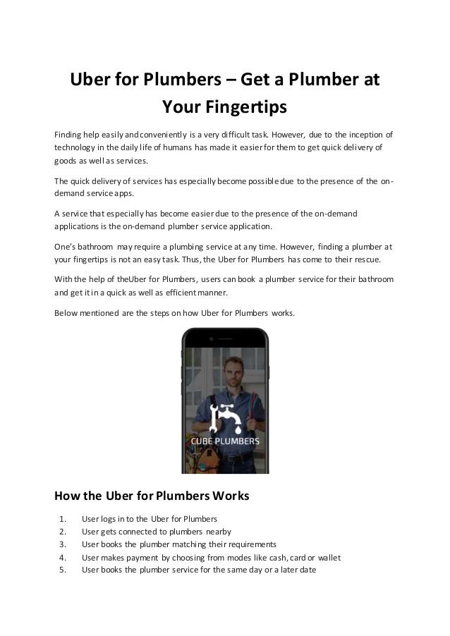 Uber for Plumbers Help Users Receive Plumbers at Their Fingertips