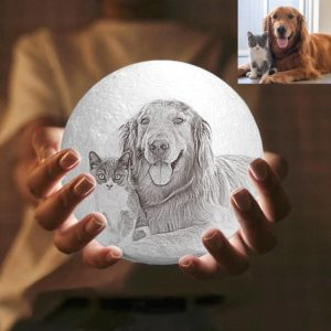 3 Color Personalized Custom 3D Printing Photo Moon Light Lamp For Pets,Dogs&Puppy – Ge ...