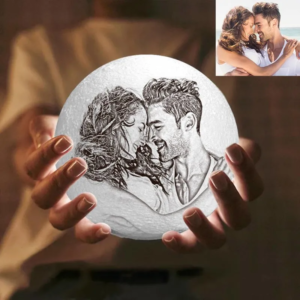 16 Color Personalized Custom 3D Printing Photo Moon Light Lamp,Gift To Witness Your Love – ...