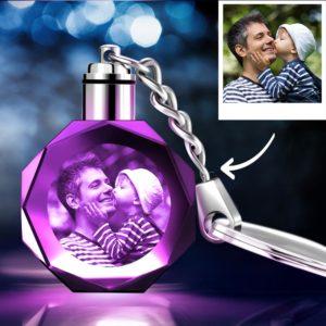 Father's Day Gifts Custom Crystal Octagon Shape Photo Key Chain – photomoonlamp