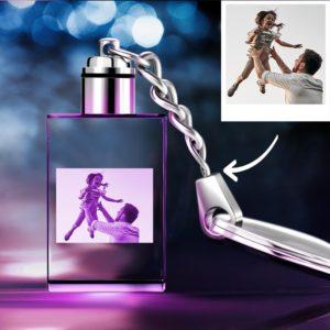Father's Day Gifts Custom Crystal Rectangle Shape Photo Key Chain – photomoonlamp