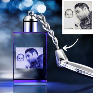 Gifts for Dad Custom Crystal Rectangle Shape Photo Key Chain – photomoonlamp