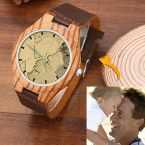 Men's Engraved Wooden Photo Watch Brown Leather Strap 45mm – GetCustomPhoneCase