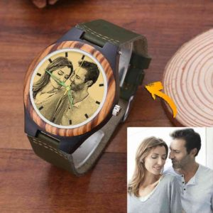 Men's Engraved Wooden Photo Watch Dark Green Leather Strap 45mm – GetCustomPhoneCase