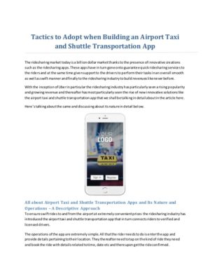 Tactics to Adopt when Building an Airport Taxi and Shuttle Transportation App