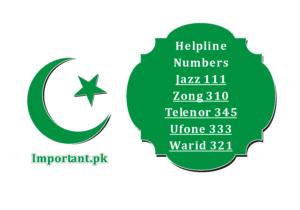 Helpline Number Jazz, Zong, Warid, Ufone, Telenor, Contact