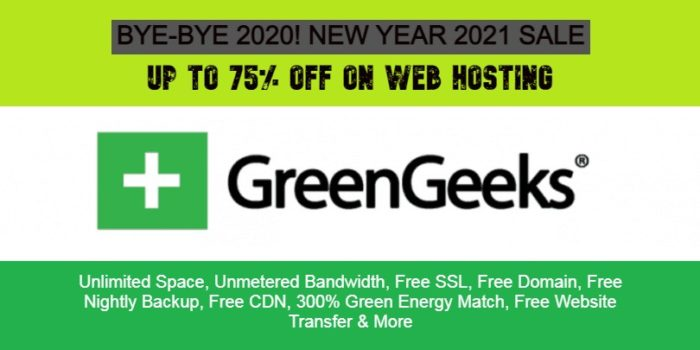 Greengeeks New Year Sale 2021 Offers – Upto 75% Off on web hosting