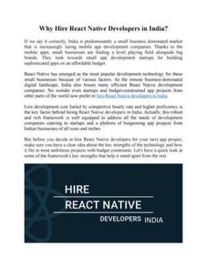 Why Hire React Native Developers in India?