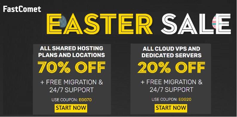 FASTCOMET MEGA EASTER SPECIAL Savings. Get 70% Off shared hosting plans & 20% OFF ALL CLOUD  ...