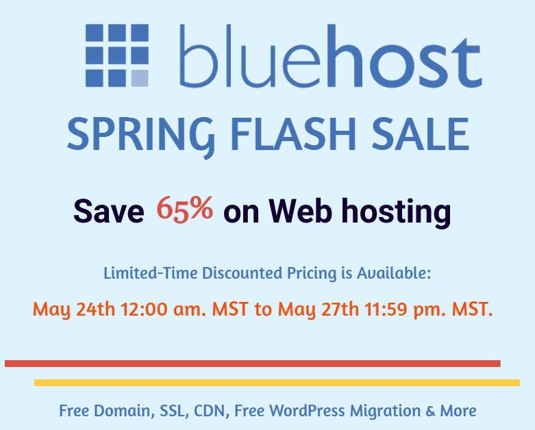 Bluehost Spring Sale – Save Huge 80% on Web Hosting Plans