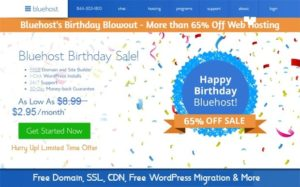 Bluehost Birthday Sale 2021 : Over 65% OFF Hosting + Free Domain & SSL