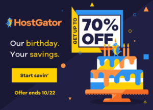 HostGator BIRTHDAY, ANNIVERSARY SALE! Up To 70% OFF Web Hosting